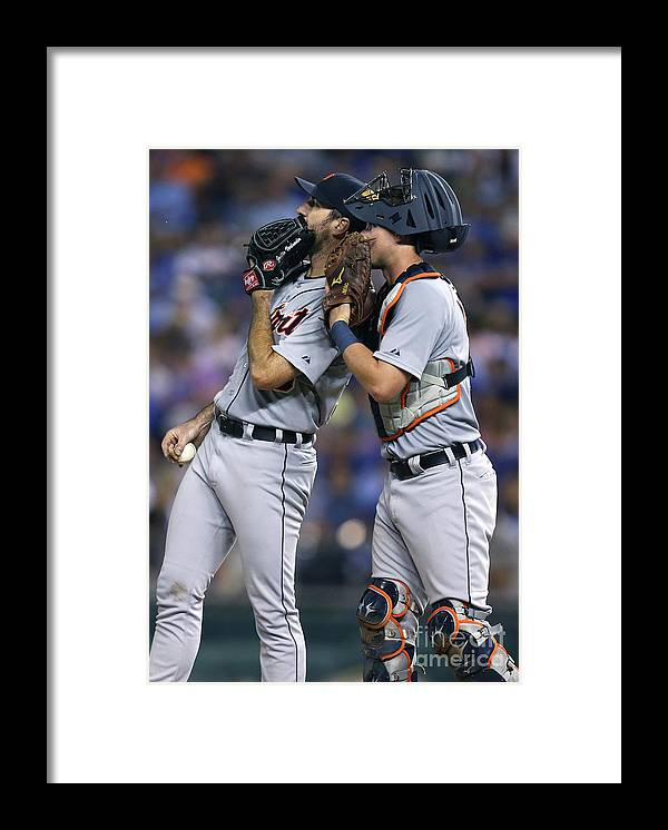 American League Baseball Framed Print featuring the photograph James Mccann and Justin Verlander by Ed Zurga