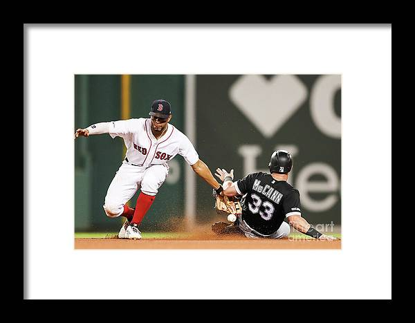 People Framed Print featuring the photograph James Mccann And Xander Bogaerts by Adam Glanzman