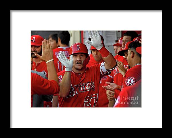 People Framed Print featuring the photograph James Shields and Mike Trout by Jayne Kamin-oncea