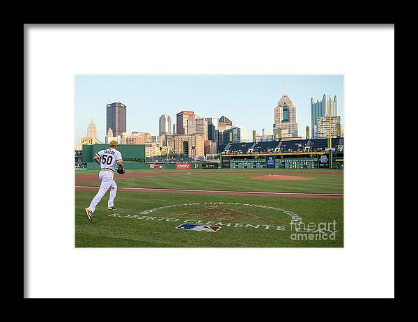 People Framed Print featuring the photograph Jameson Taillon and Roberto Clemente by Justin Berl