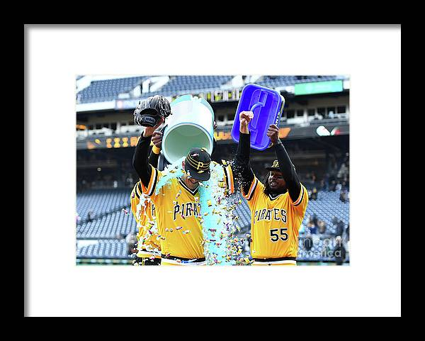 People Framed Print featuring the photograph Jameson Taillon and Starling Marte by Joe Sargent