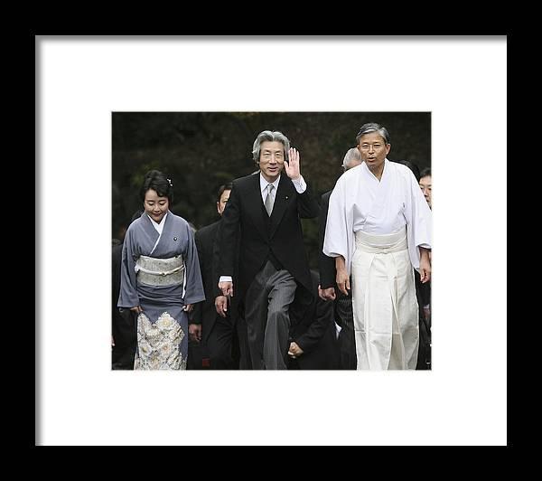 Japanese Prime Minister Framed Print featuring the photograph Japanese Prime Minister Junichiro Koizumi Visits The Ise Shrine by Koichi Kamoshida