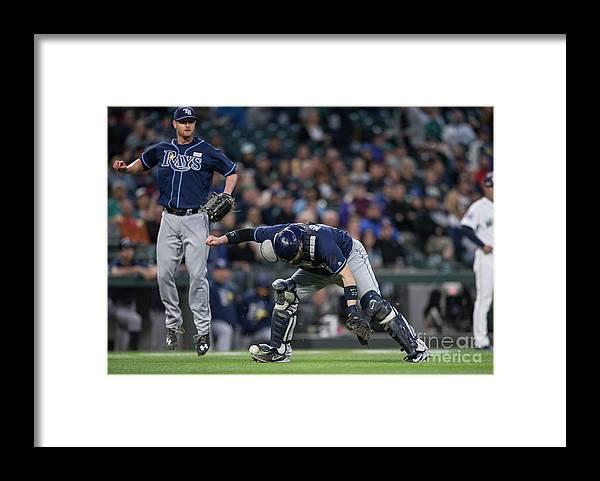 Baseball Catcher Framed Print featuring the photograph Jarrod Dyson, Derek Norris, and Alex Cobb by Stephen Brashear