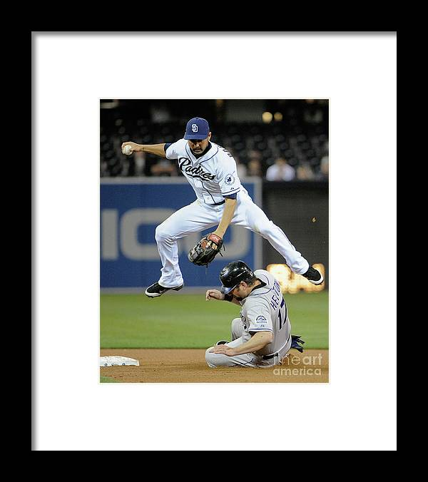 Double Play Framed Print featuring the photograph Jason Bartlett and Todd Helton by Denis Poroy