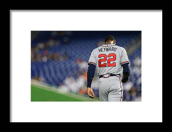 American League Baseball Framed Print featuring the photograph Jason Heyward by Mike Ehrmann