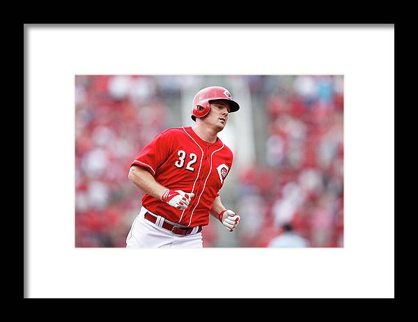 Great American Ball Park Framed Print featuring the photograph Jay Bruce by Joe Robbins