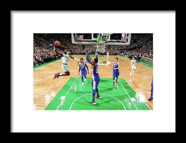 Nba Pro Basketball Framed Print featuring the photograph Jaylen Brown and Joel Embiid by Brian Babineau