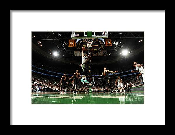 Playoffs Framed Print featuring the photograph Jayson Tatum and Lebron James by Brian Babineau