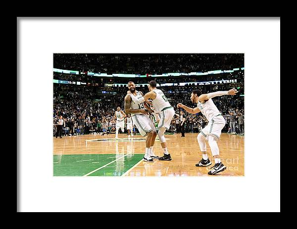 Nba Pro Basketball Framed Print featuring the photograph Jayson Tatum and Marcus Morris by Brian Babineau