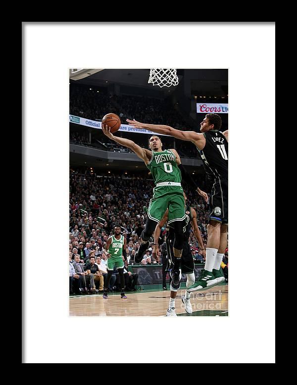 Nba Pro Basketball Framed Print featuring the photograph Jayson Tatum by Gary Dineen