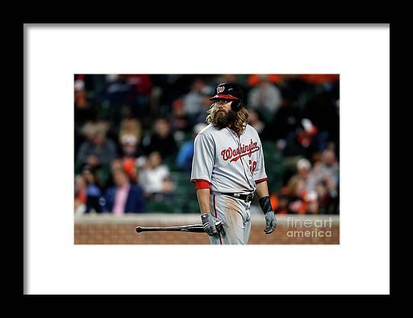 Three Quarter Length Framed Print featuring the photograph Jayson Werth by Matt Hazlett
