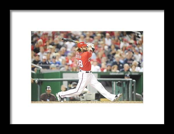 Motion Framed Print featuring the photograph Jayson Werth by Mitchell Layton
