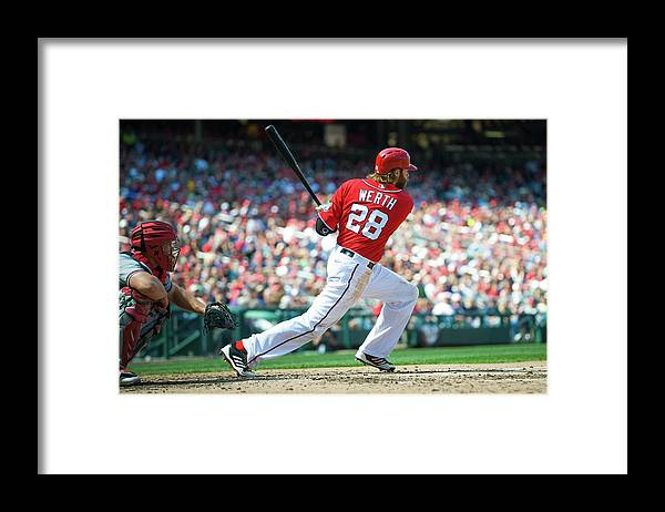 Motion Framed Print featuring the photograph Jayson Werth by Rob Tringali