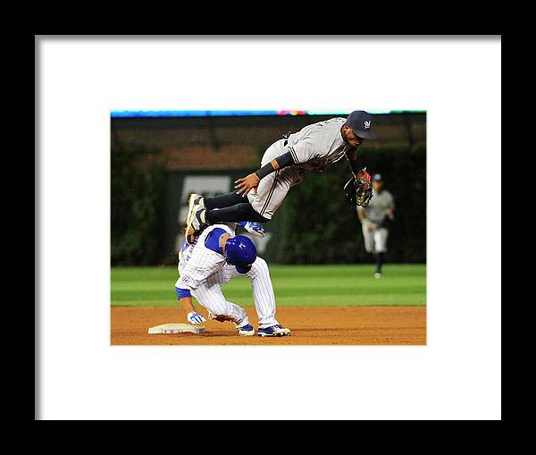 People Framed Print featuring the photograph Jean Segura and Kyle Schwarber by David Banks