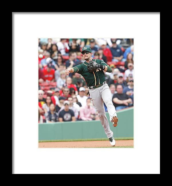 American League Baseball Framed Print featuring the photograph Jed Lowrie by Jim Rogash