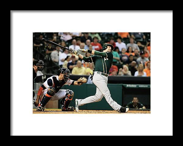 American League Baseball Framed Print featuring the photograph Jed Lowrie by Scott Halleran