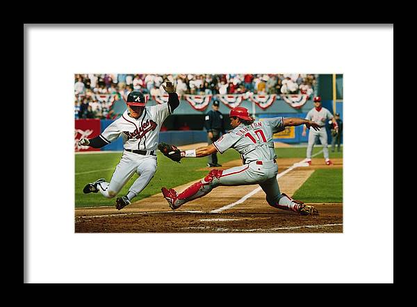 Atlanta Framed Print featuring the photograph Jeff Blauser and Darren Daulton by Ronald C. Modra/sports Imagery