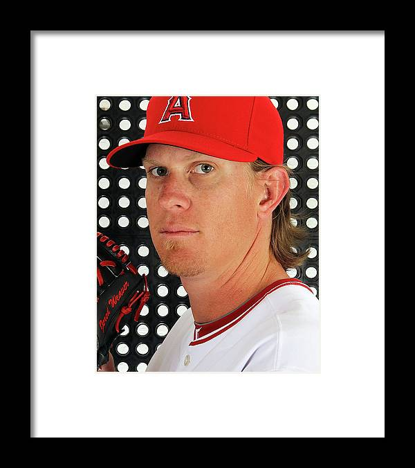Media Day Framed Print featuring the photograph Jered Weaver by Jamie Squire