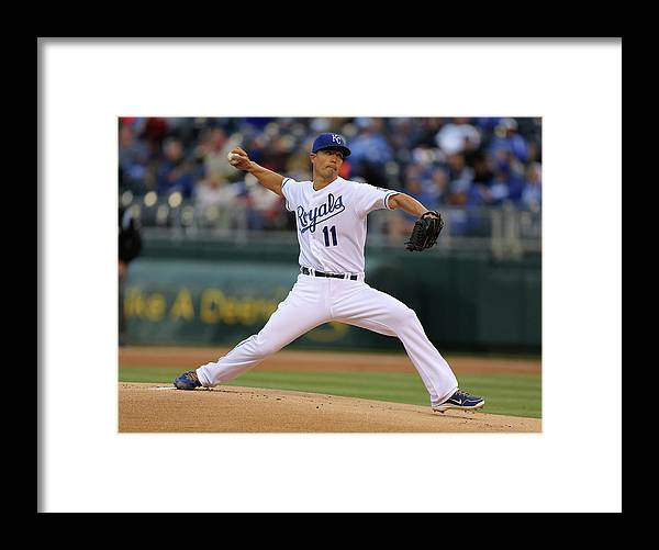 American League Baseball Framed Print featuring the photograph Jeremy Guthrie by Ed Zurga