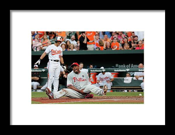 People Framed Print featuring the photograph Jerome Williams and Ryan Flaherty by Rob Carr