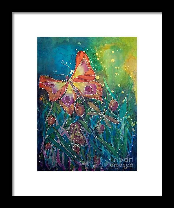 Silk Painting Framed Print featuring the painting Jeweled Butterfly Fantasy by Francine Dufour Jones