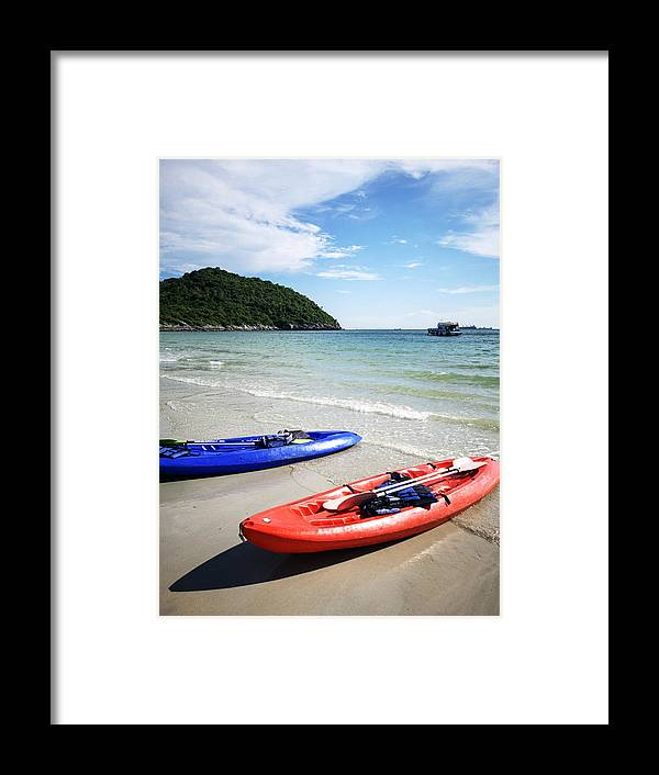 Scenics Framed Print featuring the photograph Jhakhrapong Point (End of Tham Pang Point). famous beach at Sichang island in Thailand. by Kampee Patisena