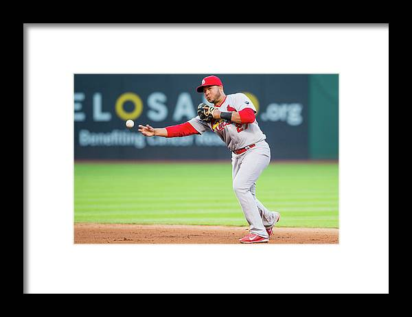 St. Louis Cardinals Framed Print featuring the photograph Jhonny Peralta and David Murphy by Jason Miller