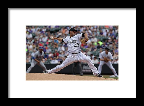 Defeat Framed Print featuring the photograph Jhoulys Chacin by Doug Pensinger
