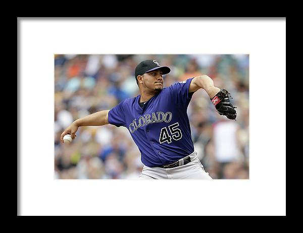 Wisconsin Framed Print featuring the photograph Jhoulys Chacin by Mike Mcginnis