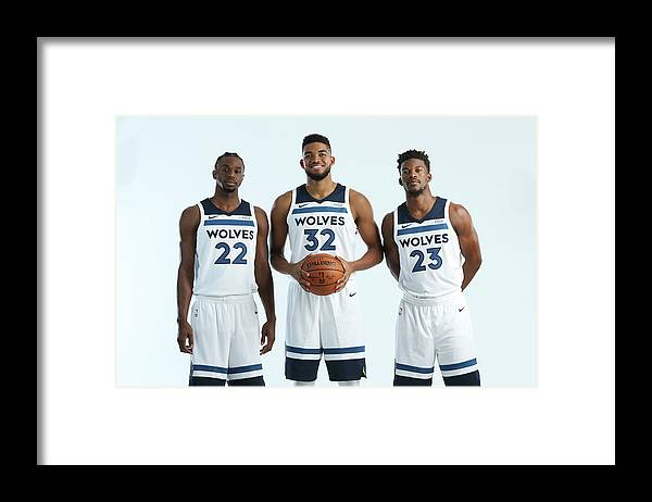 Media Day Framed Print featuring the photograph Jimmy Butler and Andrew Wiggins by David Sherman