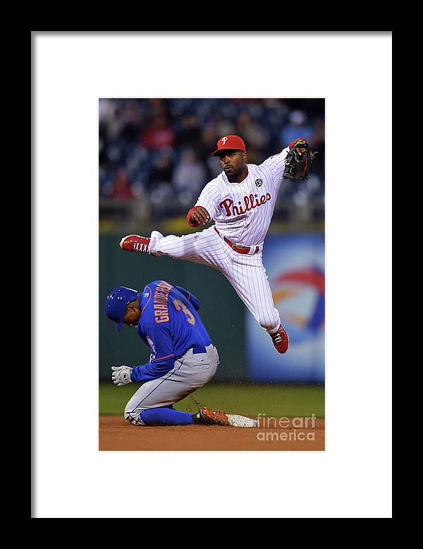 Double Play Framed Print featuring the photograph Jimmy Rollins and Curtis Granderson by Drew Hallowell