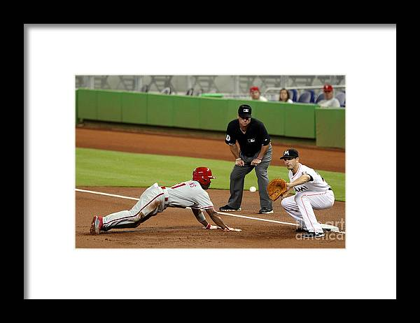 American League Baseball Framed Print featuring the photograph Jimmy Rollins and Nick Green by Marc Serota
