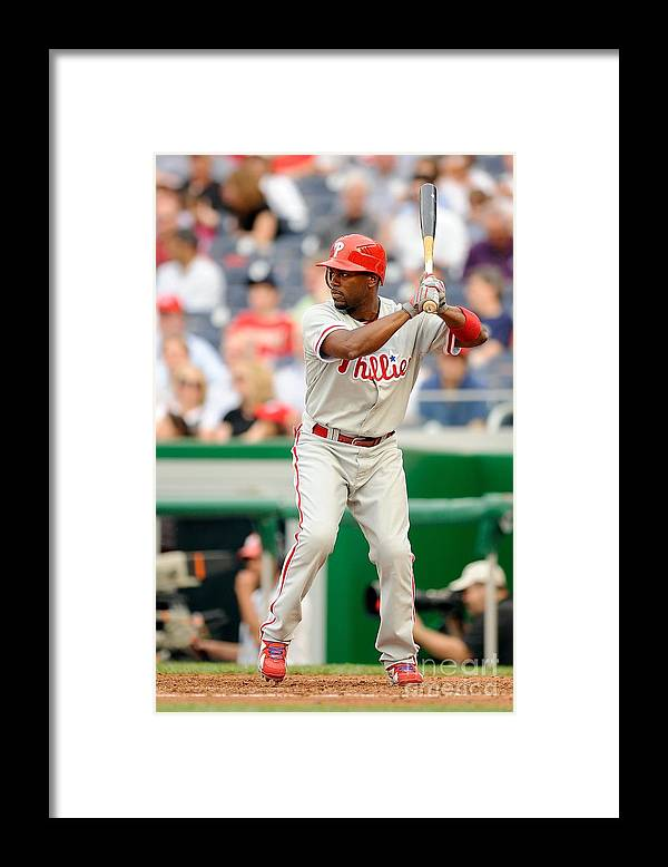 National League Baseball Framed Print featuring the photograph Jimmy Rollins by G Fiume