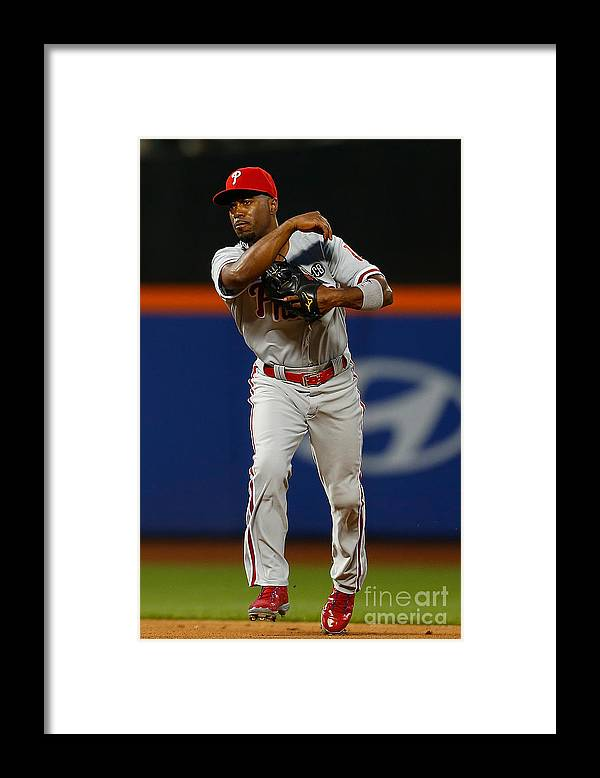 American League Baseball Framed Print featuring the photograph Jimmy Rollins by Mike Stobe