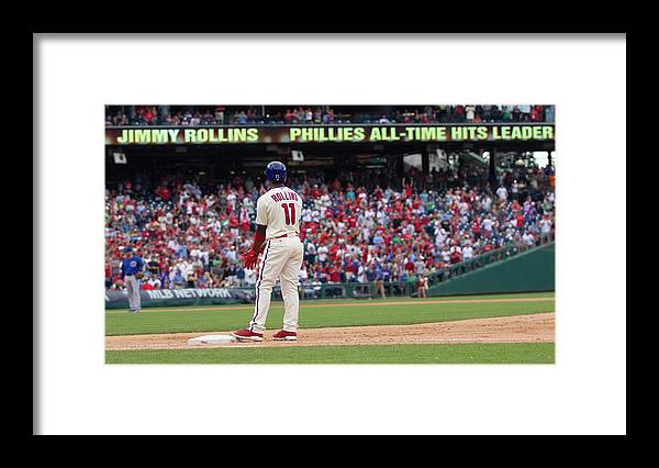 Citizens Bank Park Framed Print featuring the photograph Jimmy Rollins by Mitchell Leff