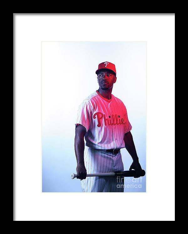 Media Day Framed Print featuring the photograph Jimmy Rollins by Nick Laham