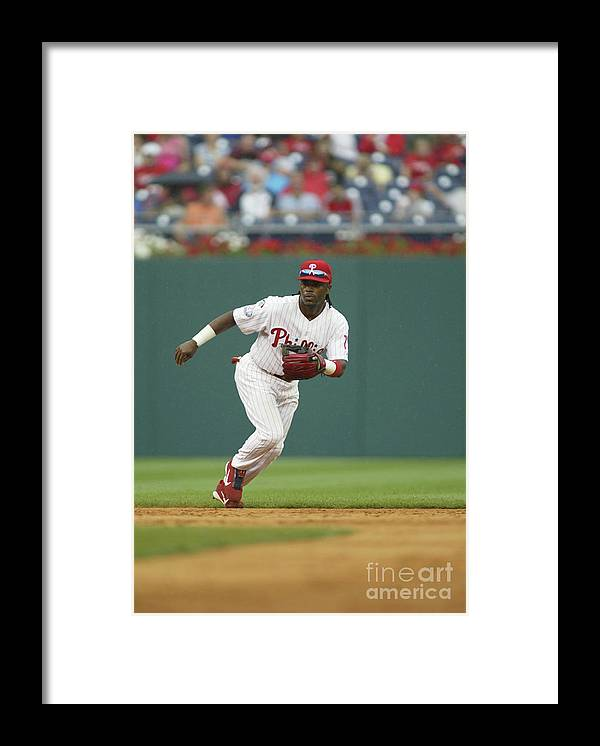 Sports Ball Framed Print featuring the photograph Jimmy Rollins by Rob Leiter