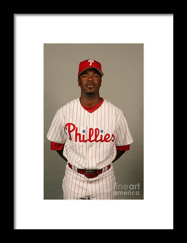 Media Day Framed Print featuring the photograph Jimmy Rollins by Robbie Rogers