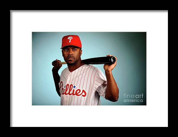 Media Day Framed Print featuring the photograph Jimmy Rollins by Robert Laberge