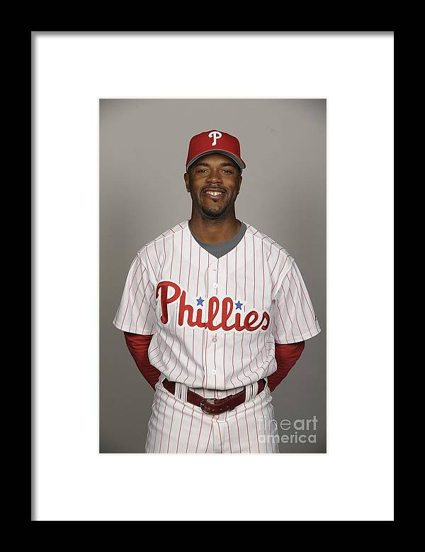 Media Day Framed Print featuring the photograph Jimmy Rollins by Tony Firriolo