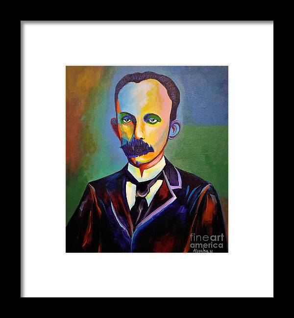 Cuban Art Framed Print featuring the painting J.Marti by Jose Manuel Abraham
