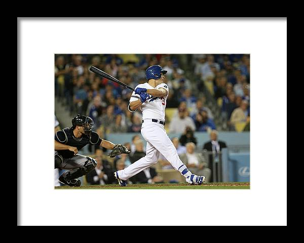 American League Baseball Framed Print featuring the photograph Joc Pederson by Stephen Dunn