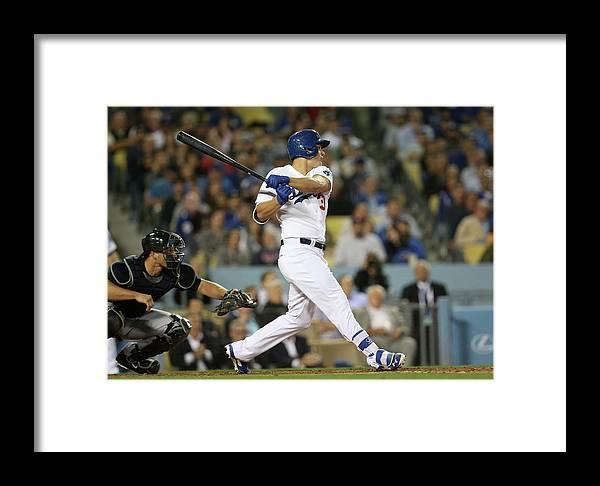 American League Baseball Framed Print featuring the photograph Joc Pederson by Stephen Dunn