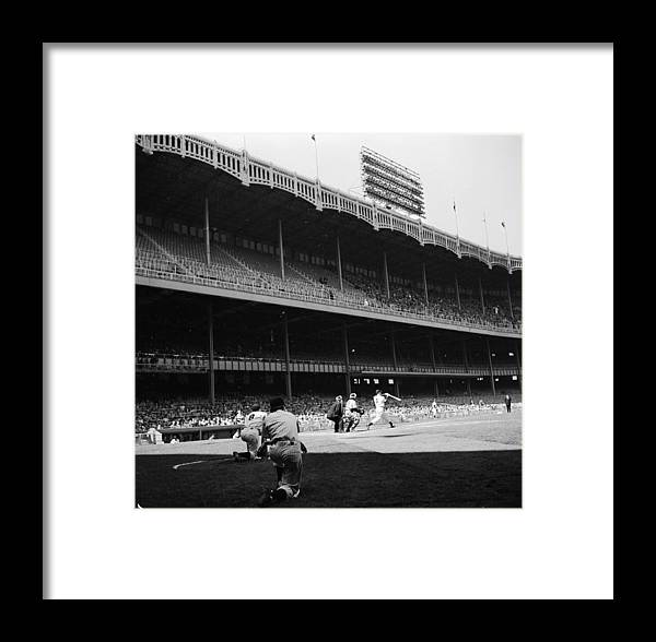 Motion Framed Print featuring the photograph Joe Dimaggio And Yogi Berra by Douglas Grundy