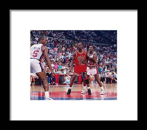 Chicago Bulls Framed Print featuring the photograph Joe Dumars and Michael Jordan by Allen Einstein