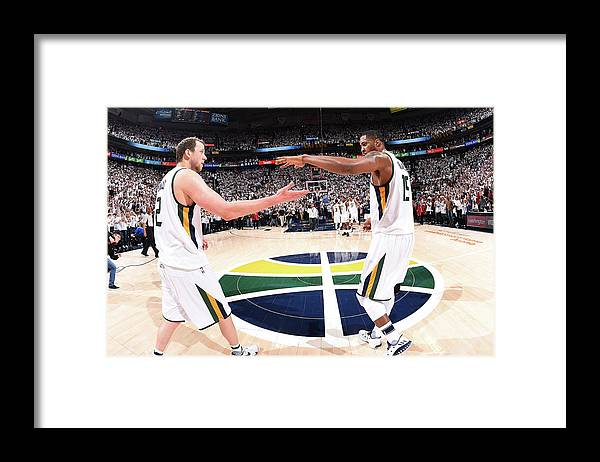 Playoffs Framed Print featuring the photograph Joe Ingles and Derrick Favors by Andrew D. Bernstein
