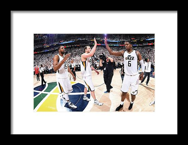 Playoffs Framed Print featuring the photograph Joe Ingles, Joe Johnson, and Derrick Favors by Andrew D. Bernstein