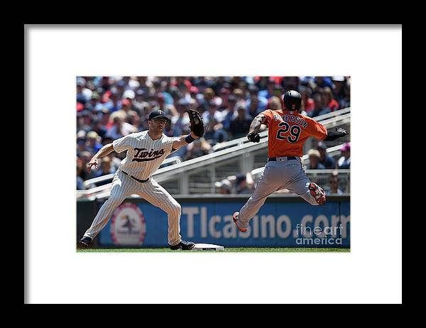 Second Inning Framed Print featuring the photograph Joe Mauer and Jace Peterson by Hannah Foslien