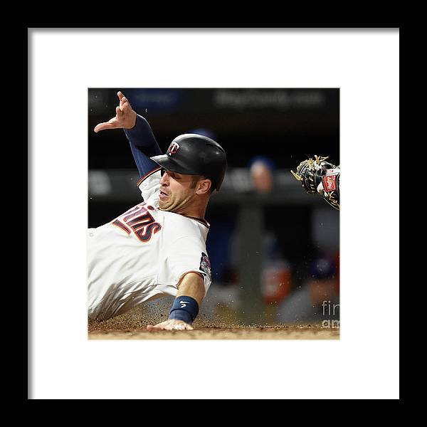 Three Quarter Length Framed Print featuring the photograph Joe Mauer and Russell Martin by Hannah Foslien