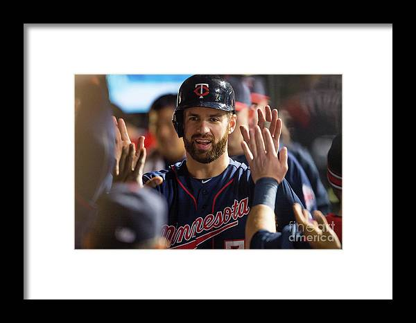 Game Two Framed Print featuring the photograph Joe Mauer by Jason Miller